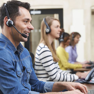 Customer service agents work in customer support centre